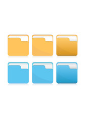 Vector set of orange and blue folder icons