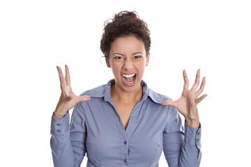Niederlage - Wütende Frau - Wutausbruch - Gesicht isoliert