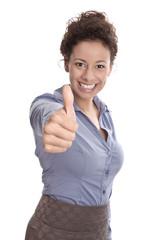Glückliche junge Frau - Ziele erreichen - isoliert
