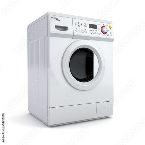 Washing machine on white isolated background.