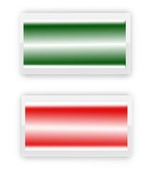 bottone verde e rosso