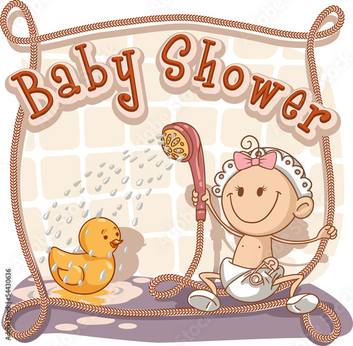 Baby Shower - Vector Cartoon Invitation