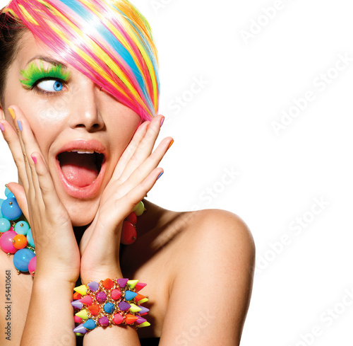 Plakat na zamówienie Beauty Girl Portrait with Colorful Makeup, Hair and Accessories