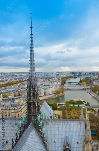 spire of Notre Dam and skyline of Paris