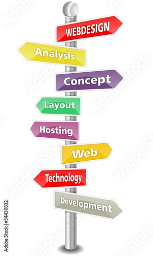 WEBDESIGN - word cloud - colored signpost - NEW TOP TREND