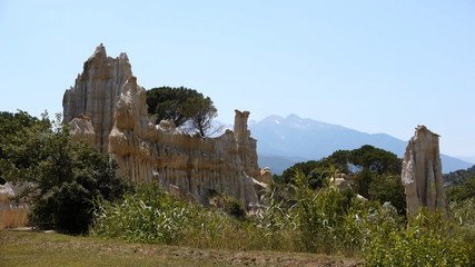 Sandstone rocks of the organpipes of  Ille sur Tet, France