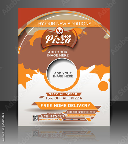 Vector Pizza Shop flyer, magazine cover & poster template.
