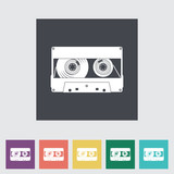 Audiocassette flat single icon.