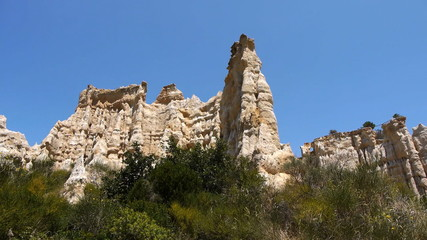 Sandstone rocks of the organpipes. Orgues Ille sur Tet, France