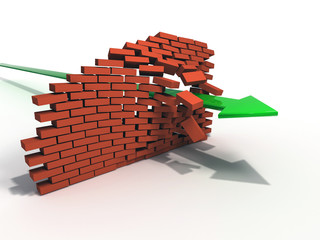 3d Arrow breaking brick wall