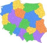 polska mapa powiatów