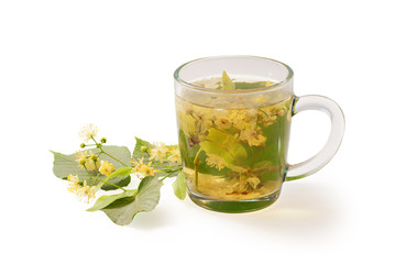 Cup with linden tea isolated on a white background