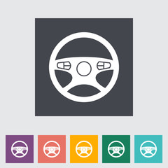 Car Steering Wheel flat icon.