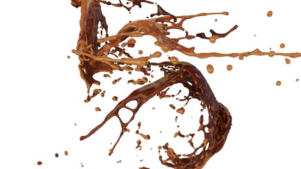 chocolate and caramel splashes collide in slow motion (FULL HD)
