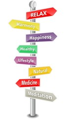 RELAX - word cloud as colored signpost - NEW TOP TREND