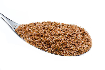 tablespoon of wheat bran close up