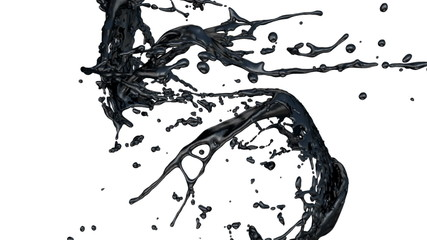 black ink splashes collide in slow motion (FULL HD)