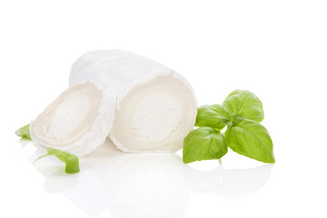Delicious goat cheese isolated.