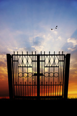 Gate at sunset
