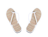 Pair of striped flip-flop sandals.