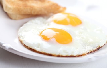 Detail of plate with fried eggs and toasts