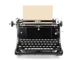 Typewriter with blank sheet isolated on white.