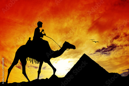 Silhouette of the Egyptian pyramids
