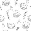 Food seamless pattern. Black and white vector