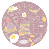 Card made of lunch icons. Food vector illustration set