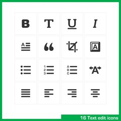 Text edit icon set. Vector black pictograms.