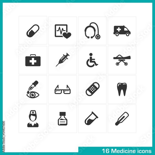 Medicine icons set. Vector black pictograms.