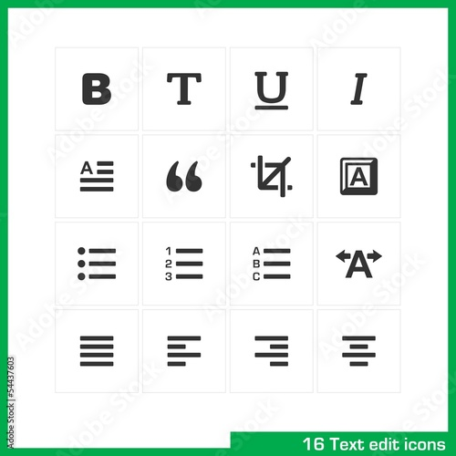 Text edit icon set. Vector black pictograms.