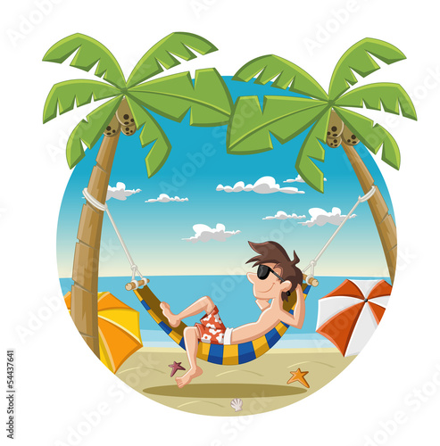Cartoon man on beautiful tropical beach
