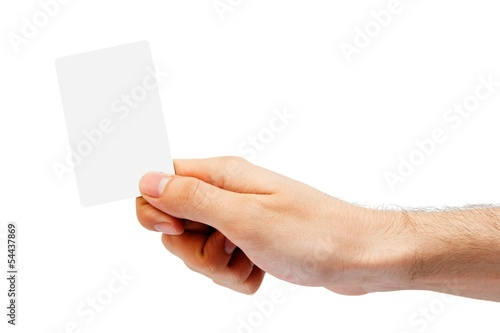 Hand and a plastic card isolated on white