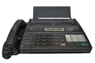 Fax machine on white background