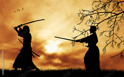 Samurai silhouette at sunset