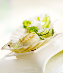 scallop served in a scallop shell