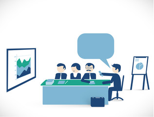 meeting room scene - man showing presentation