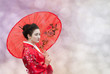 Woman with red Chinese umbrella, abstract background