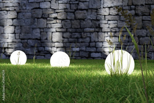 Foto op Aluminium Tuin Glowing light in the grass
