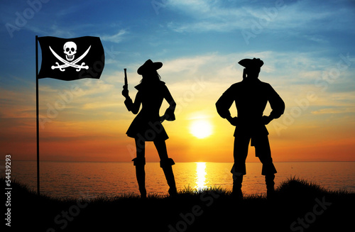 Pirates silhouette at sunset