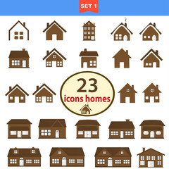 Set of classic homes in brown color