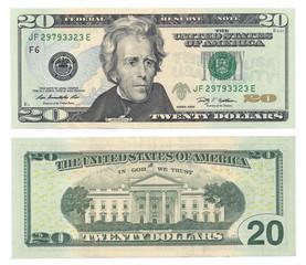 Twenty dollars face and Back