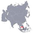 Asienkarte mit Singapur