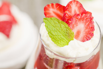 Eton Mess - Strawberries with whipped cream and meringue.