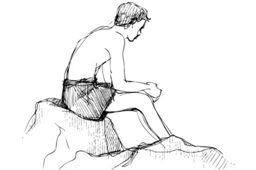 sketch youth sits on a stone sunbathes