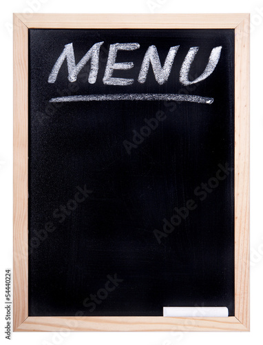 blackboard with an inscription of the menu
