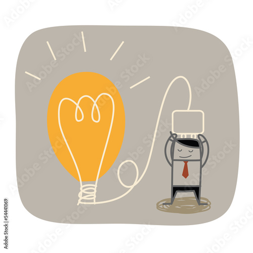 business man plug idea bulb