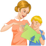 Mother helps son to cut color paper and make applique' work