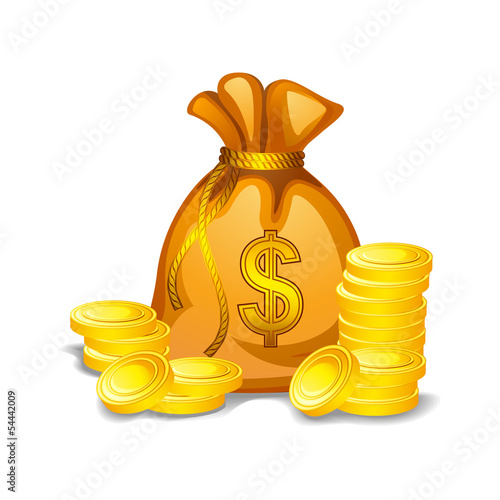 vector illustration of money bag filled with gold coin